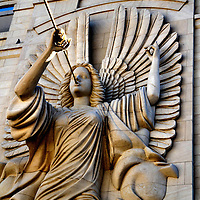 Angel on Grand Fa&ccedil;ade of Bass Performance Hall in Fort Worth, Texas<br />