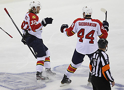 April 24, 2012; Newark, NJ, USA; Florida Panthers defenseman Erik Gudbranson (44) and Florida Panthers right wing Kris Versteeg (32) celebrate Versteeg's goal during the second period of game six of the 2012 Eastern Conference quarterfinals at the Prudential Center.