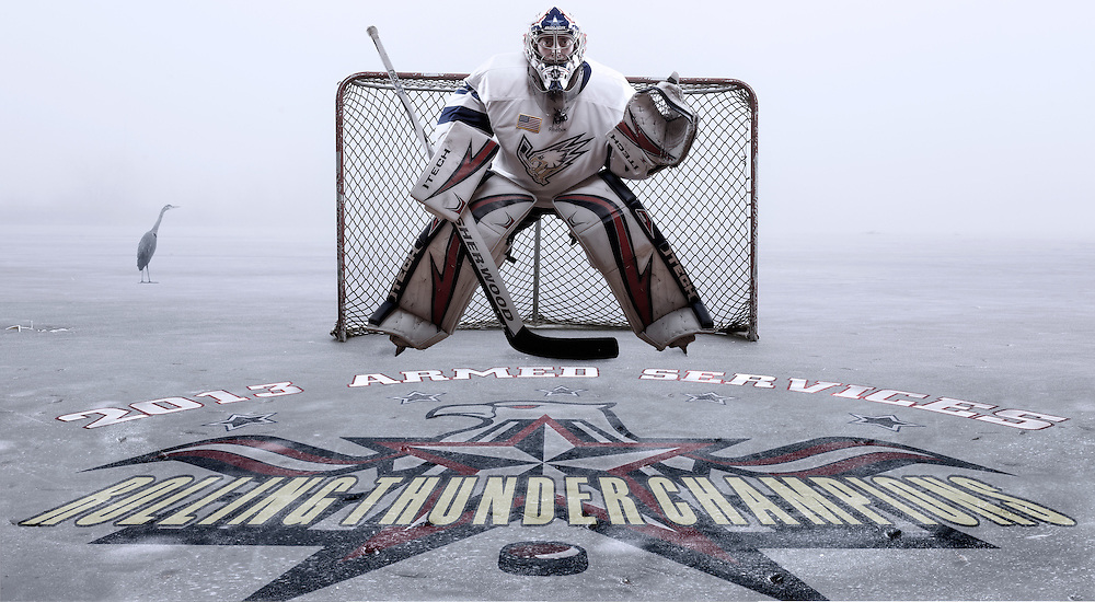 A composite image made for a goalie on the Fairchild Air Force Varsity hockey team named The Falcons.
