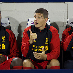 WEST BROMWICH, ENGLAND - Wednesday, September 26, 2012: Liverpool's substitutes Andre Wisdom, Conor Coady and Adam Morgan on the bench against West Bromwich Albion during the Football League Cup 3rd Round match at the Hawthorns. (Pic by David Rawcliffe/Propaganda)