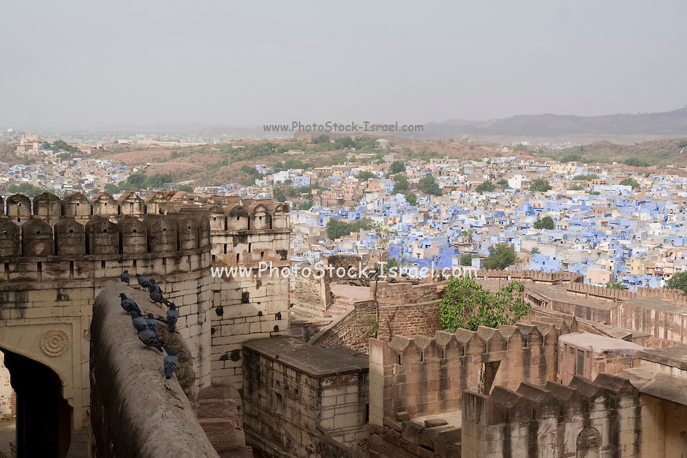 India, Rajasthan, Jodhpur, Mehrangarh fort. View to the city