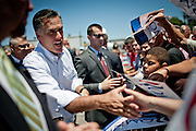 GOP presidential candidate Gov. Mitt Romney greets supporters at a campaign rally at Carter Machinery Company in Salem, Virginia, June 26, 2012.