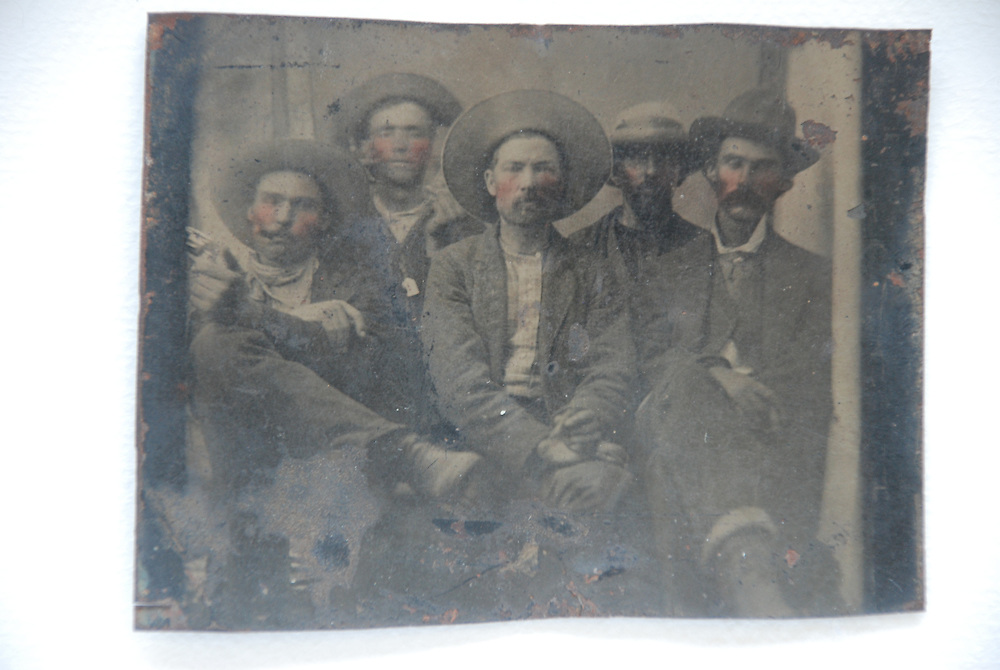 Frank Abrams' possible Billy the Kid and Pat Garrett tintype. Abrams is guessing that Billy the Kid may be second from the left and Garrett may be on the right. (courtesy of Frank Abrams)