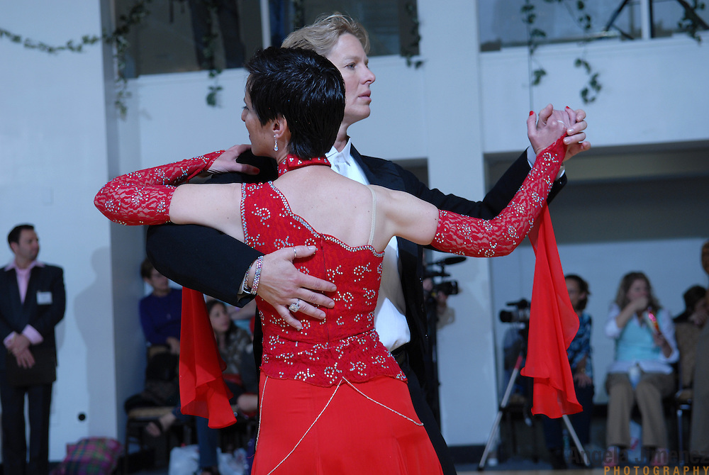 Same-sex ballroom dancers Denae Wagner, right, and Kate Hurley of California compete in the women's standard competition at the 5 Boro Dance Challenge on May 5, 2007...The locally produced 5 Boro Dance Challenge, New York City's first major same-sex dance competition, was held at the Park Central Hotel in Manhattan from May 4-6, 2007. .