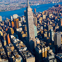 Aerial views of Empire State Building, NY Manhattan