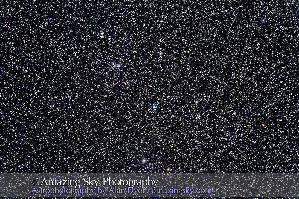 NGC 6905, the Blue Flash Nebula in Delphinus, a planetary 36 arc seconds across, so tiny at this scale with the 130mm f/6 refractor. Taken with the Canon 7D for a stack of 4 x 6 minute exposures with the Canon 7D at ISO 800. Taken from SSSP 2012.