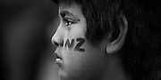 Side profile of young NZ fan, 2011 Rugby World Cup.