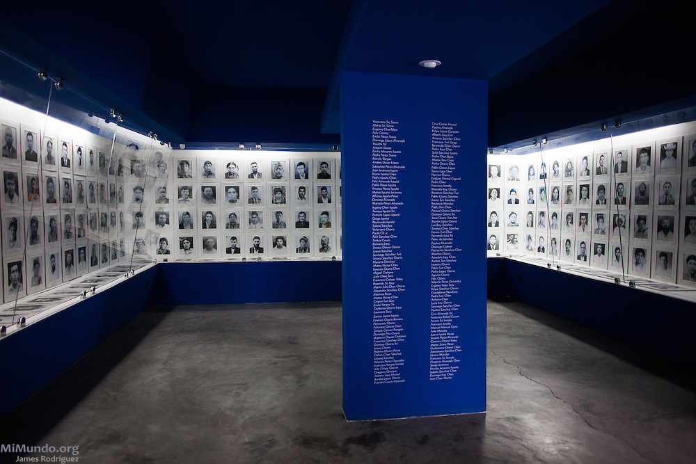The Hall of the Victims at the Rabinal Achi Community Museum holds a permanent photo exhibit of some of the Achi Mayan people killed during the massacres in the early 1980s by the Guatemalan Armed Forces along with the Civil Patrolmen of the region. Rabinal, Baja Verapaz, Guatemala. October 16, 2015.