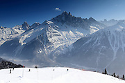 Views from the Brevant ski area, above Chamonix, in the French Alps