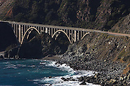 Highway One, along California's Pacific coast, is dotted with these 'open spandrel' concrete arch bridges, taking the scenic highway right along the coast and high above the rocks and inlets below.