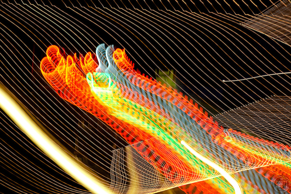 """Espresso"" - This abstract photograph of a neon espresso sign in Downtown Truckee, CA was achieved by moving the camera's lens during a long exposure."