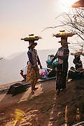 Food vendors at Kyaiktiyo Pagoda (Golden rock)). Mon State, Myanmar