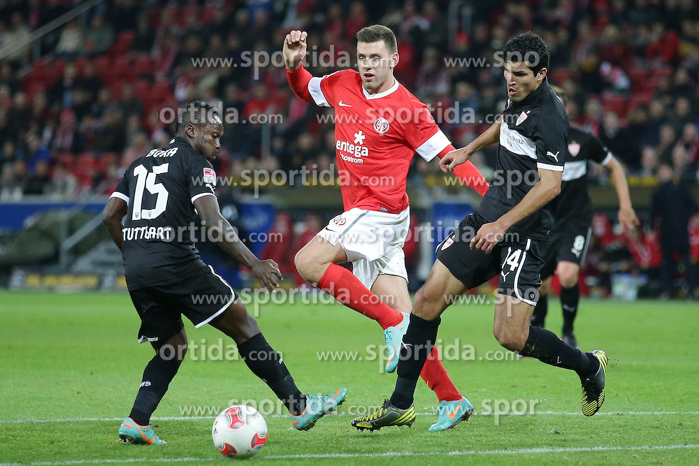 15.12.2012, Coface Arena, Mainz, GER, 1. FBL, 1. FSV Mainz 05 vs VfB Stuttgart, 17. Runde, im Bild Adam SZALAI (FSV Mainz 05 - 28) in der Mitte - Arthur BOKA (VfB Stuttgart - 15) - MAZA (VfB Stuttgart - 14) // during the German Bundesliga 17th round match between 1. FSV Mainz 05 and VfB Stuttgart at the Coface Arena, Mainz, Germany on 2012/12/15. EXPA Pictures © 2012, PhotoCredit: EXPA/ Eibner/ Gerry Schmit..***** ATTENTION - OUT OF GER *****