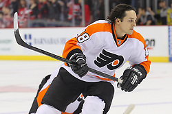 Mar 13, 2013; Newark, NJ, USA; Philadelphia Flyers center Danny Briere (48) during warmups for their game against the New Jersey Devils at the Prudential Center.