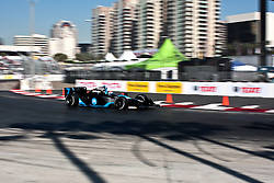 LONG BEACH, CA - APR 17: Indycar Driver Danica Patrick at turn 10 drives the #7 Motorola Andretti Green Racing Dallara Honda practice run. Photo by Eduardo E. Silva