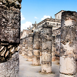 The columns in the Temple of the Thousand Warriors, made from centuries old rock, are a piece of the ancient Mayan ruins at Chichen Itza on the Yucatan Peninsula in Mexico.