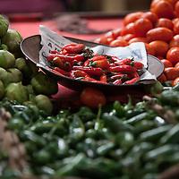 Fresh jalapenos and tomatillas, Merced Market.