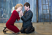 19/10/2011. London's last remaining music hall, Wilton's, presents a new production of 'Britannicus', Racine's study of Rome under the tyranny of Nero's rule. Directed by Irina Brown. Picture shows Sian Thomas as Agrippina & Matthew Needham as Nero. Photo credit : Tony Nandi/LNP