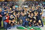 Twickenham, GREAT BRITAIN,   Oxford celebrate after winning the  the 2012 Varsity Rugby match.  Oxford vs Cambridge, at the RFU Stadium, Twickenham, Surrey. on Thursday  06/12/2012...[Mandatory Credit; Peter Spurrier/Intersport-images]