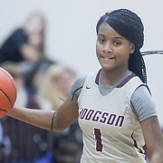 Hodgson Vo-Tech Guard Ja-Naiah Perkins-Jackson (1) dribbles the ball up the floor during a Diamond State Classic game Wed. Dec. 28, 2016 at Saint Elizabeth's High School in Wilmington.