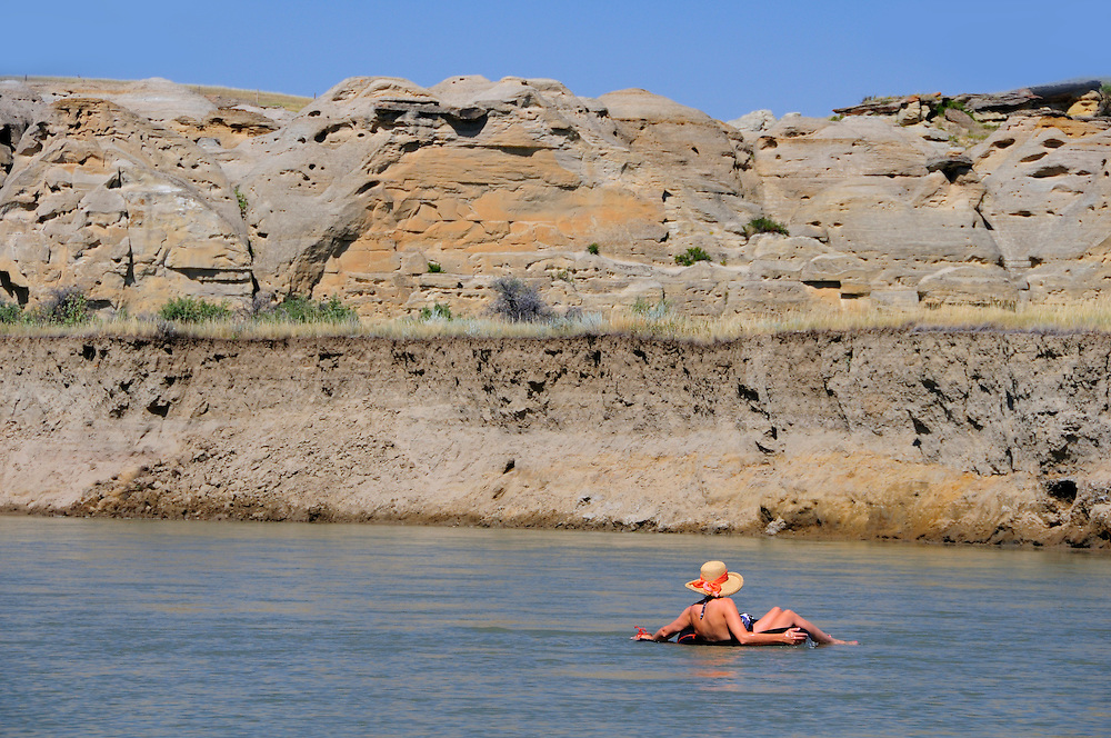 Swimming in Milk River, Writing on Stone Provincial Park, Alberta, Canada.
