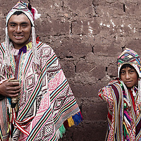 A portrait of Clemente Huaman Huaman on the left and Eudocio Choque Mayo wearing a Sunday Ceremonial outfit for mass traditional to Pisac and many Quechuan people of the andes