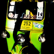 Green Tuk Tuk Taxi. Bangkok Thailand