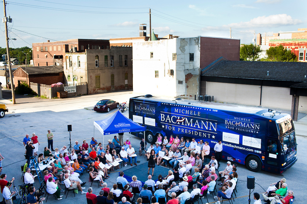 Republican presidential hopeful Michele Bachmann campaigns on Saturday, July 31, 2011 in Fort Dodge, IA.