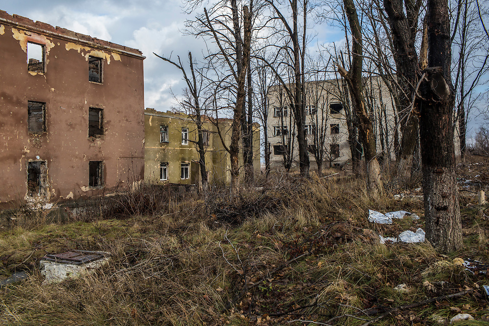 A destroyed mental hospital, which was used as a base by rebel fighters before the town was retaken by Ukrainian forces, on Monday, December 14, 2015 in Semenivka, Ukraine.