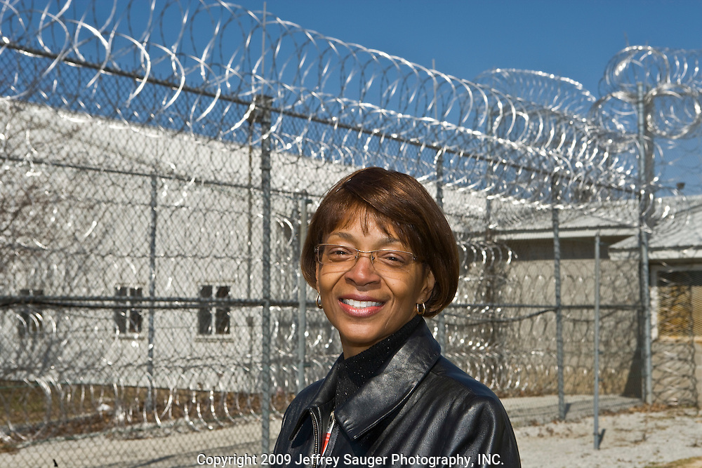 Warden Carmen D. Palmer in Deerfield Correctional Facility's empty yard after the last 33 of 1,200 prisoners were transported out of the closing prison in Ionia, MI, Friday, March 20, 2009. The prisoners were transferred to West Shoreline Correctional Facility in Muskegon, MI.