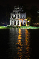 Turtle Tower, which is also called Tortoise Tower, is a small tower in the middle of Hanoi's Hoan Kiem Lake.