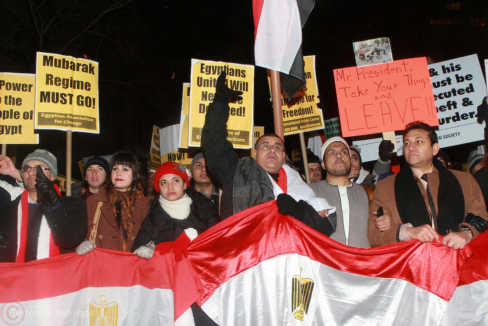 4 February 2011-New York, NY- Protesters rally against Egyptian President Hosni Mubarak at Egyptian Consulate at the corner of east 44th and 2nd ave on February 4, 2011 in New York City. Photo Credit: Terrence Jennings