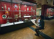 Sketch artist at work in the Victoria & Albert Museum, London.