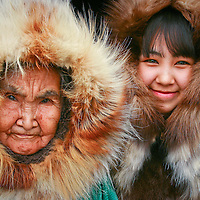 Yupik elder, Olinka K. Nicolai, at home with her great grandaughter, Josephine Allice Guy, in Kwethluk, Alaska