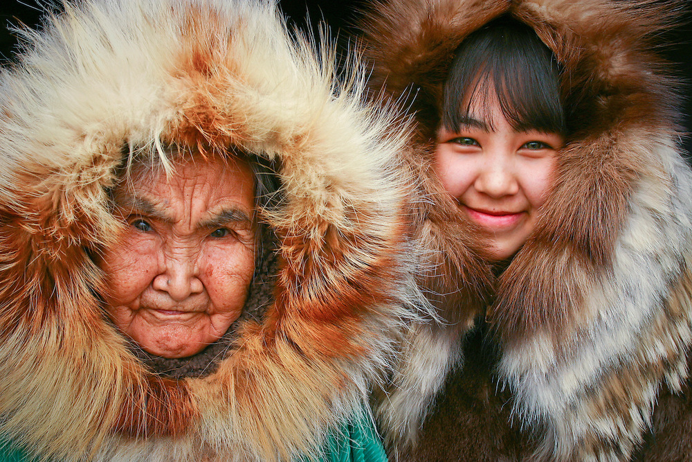 Yupik elder, Olinka K. Nicolai, at home with her great grandaughter, Josephine Allice Guy, in Kwethluk, Alaska