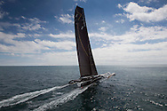 The 2013 Rolex Fastnet race start. <br /> <br /> Pictures off the maxi trimaran Spindrift 2 skippered by Dona Bertarelli and Yann Guichard. Shown here as they race down the Solent and past the Needles <br /> <br /> Credit: Lloyd Images
