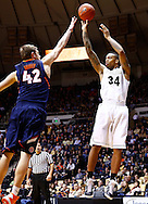 WEST LAFAYETTE, IN - JANUARY 02: Jacob Lawson #34 of the Purdue Boilermakers shoots the ball against Tyler Griffey #42 of the Illinois Fighting Illini at Mackey Arena on January 2, 2013 in West Lafayette, Indiana. Purdue defeated Illinois 68-61. (Photo by Michael Hickey/Getty Images) *** Local Caption *** Jacob Lawson; Tyler Griffey