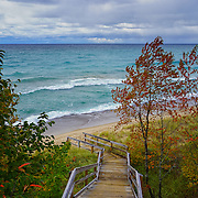 &quot;Stairway to Lake Superior&quot;<br /> <br /> A gorgeous windy day on Lake Superior with green-blue water, white capped waves, and stormy skies!