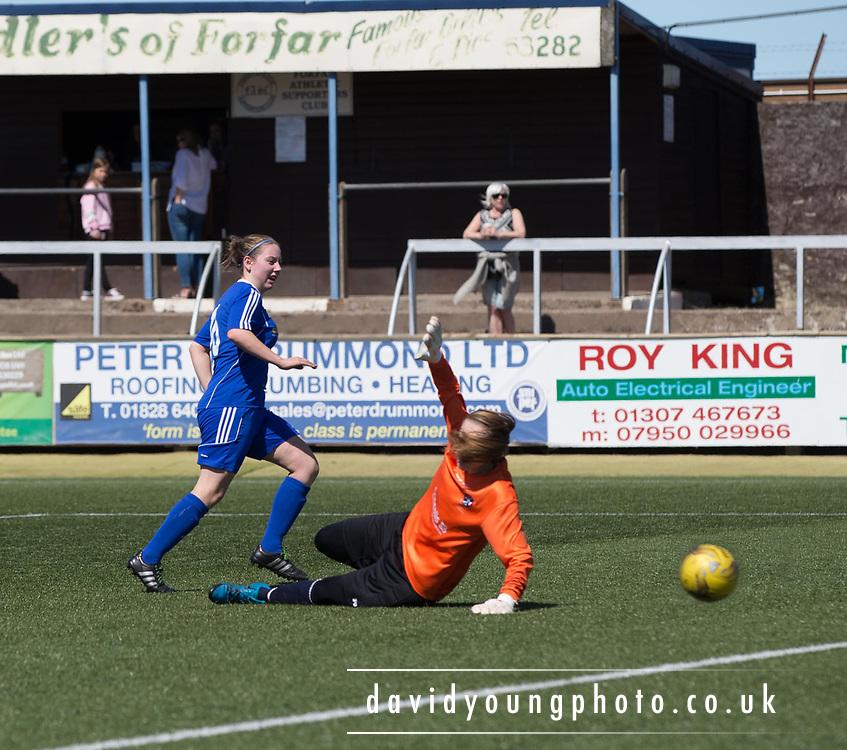 Cheryl Kilcoyne opens the scoring for Forfar Farmington in their 5-0 win over Edinburgh University Hutchison Vale in SWPL2  at Station Park, Forfar, Photo: David Young<br /> <br />  - &copy; David Young - www.davidyoungphoto.co.uk - email: davidyoungphoto@gmail.com