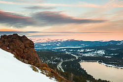 """""""Donner Lake Sunset 29"""" - Photograph of a full moon rising and a snowy and rocky scene above Donner Lake and Truckee, California at sunset."""