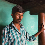 CAPTION: Basavashetty is totally blind in the left eye and mostly blind in the right. He feels his way around his home, and could greatly benefit from wall bars to help with this. LOCATION: Sagade (village), Harave (hobli), Chamrajnagar (district), Karnataka (state), India. INDIVIDUAL(S) PHOTOGRAPHED: Basavashetty.