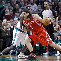 06 March 2012: Boston Celtics power forward Brandon Bass (30) defends on Houston Rockets power forward Luis Scola (4) during the Boston Celtics 97-92 (OT) victory over the Houston Rockets at the TD Garden, Boston, Massachusetts, USA.