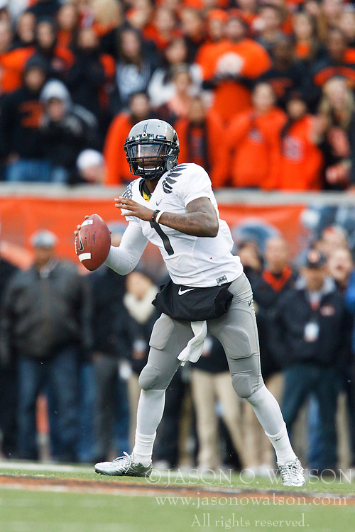 December 4, 2010; Corvallis, OR, USA;  Oregon Ducks quarterback Darron Thomas (1) during the fourth quarter against the Oregon State Beavers at Reser Stadium.  Oregon defeated Oregon State 37-20.
