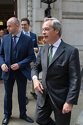 Milbank, London, May 12th 2016.  UKIP leader Nigel Farage leaves Milbank following a television interview as part of the Vote Leave campaign. &copy;Paul Davey<br /> FOR LICENCING CONTACT: Paul Davey +44 (0) 7966 016 296 paul@pauldaveycreative.co.uk