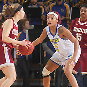 Delaware Forward MAKEDA NICHOLAS (5) sets up on defends in the second half of a Colonial Athletic Association regular season basketball game between Delaware and College of Charleston Sunday, Jan. 22, 2017 at The Bob Carpenter Sports Convocation Center in Newark, DEL