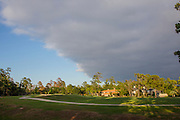Storm clouds clearing on golf course in The Woodlands, Texas in autumn