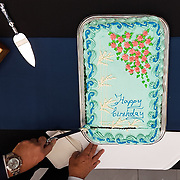 Celebration of the the Hemmingson Center's first birthday with a cake cutting by John J. Hemmingson. (Photo by Gonzaga University)