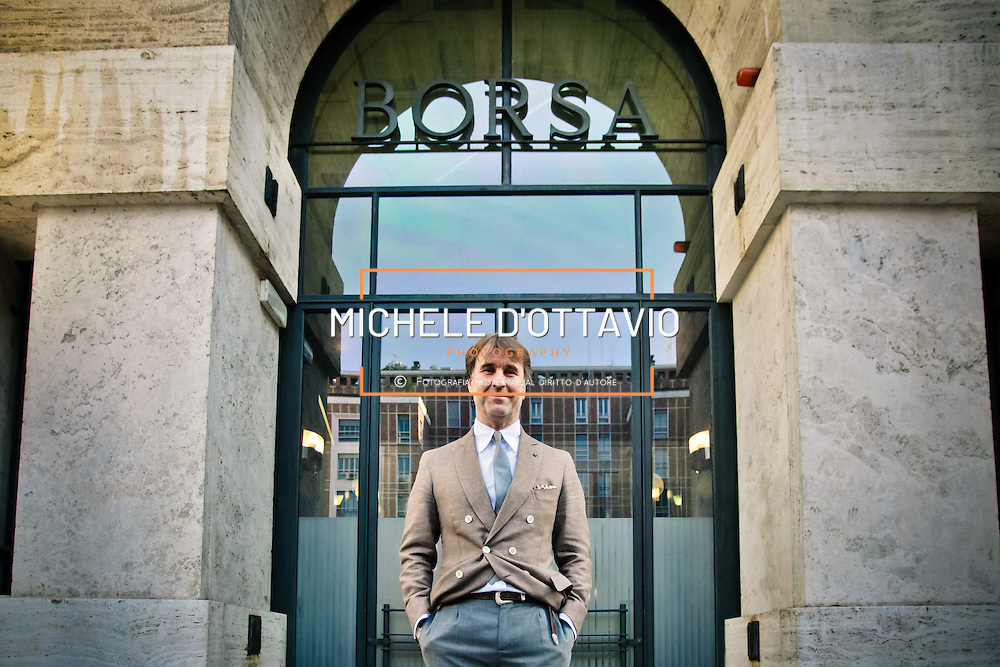 Brunello Cucinelli, re del cashmere, fondatore e proprietario dell'omonima azienda ritratto davanti alla borsa di Milano in occasione dell'ipo.<br /> <br /> Brunello Cucinelli, king of cashmere, founder and owner of the company with portrait in front of the Milan Stock Exchange at the IPO.
