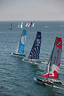 Extreme Sailing Series 2011. Leg 1. Muscat. Oman.Day 1 of racing Artemis Racing, Edmond De Rothschild and The Wave Muscat
