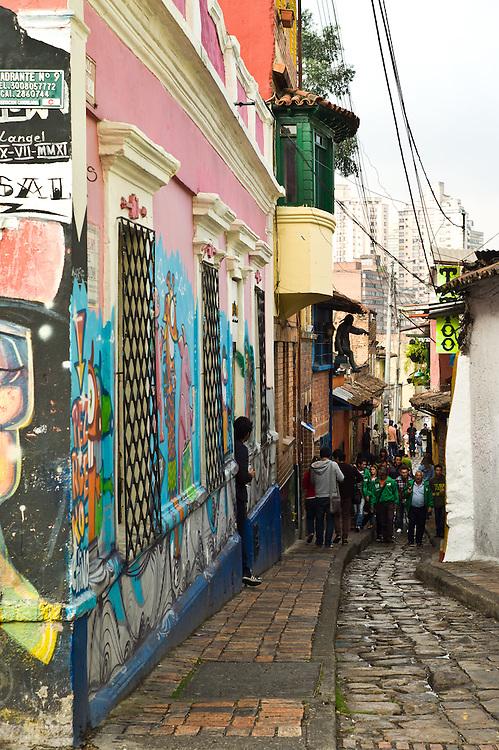 Streets of La Candelaria in Bogotá, Colombia.